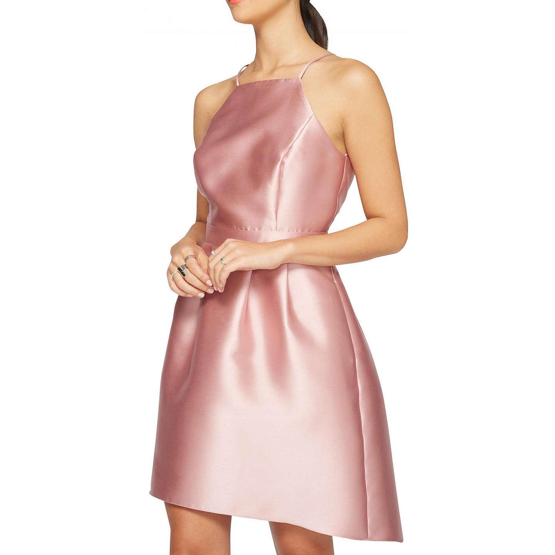 Miss Selfridge Bandeau Dip Hem Prom Dress, Pink at John Lewis