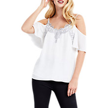 Buy Oasis Cold Shoulder Cami, Off White/Metallic Online at johnlewis.com