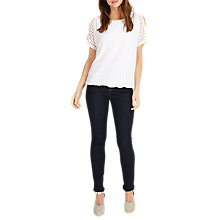 Buy Phase Eight Saskie Square Burnout Top, White Online at johnlewis.com