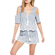Buy Miss Selfridge Petite Cold Shoulder Stripe Top, Blue Online at johnlewis.com