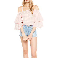 Buy Miss Selfridge Gingham Cold Shoulder Top, Multi Online at johnlewis.com