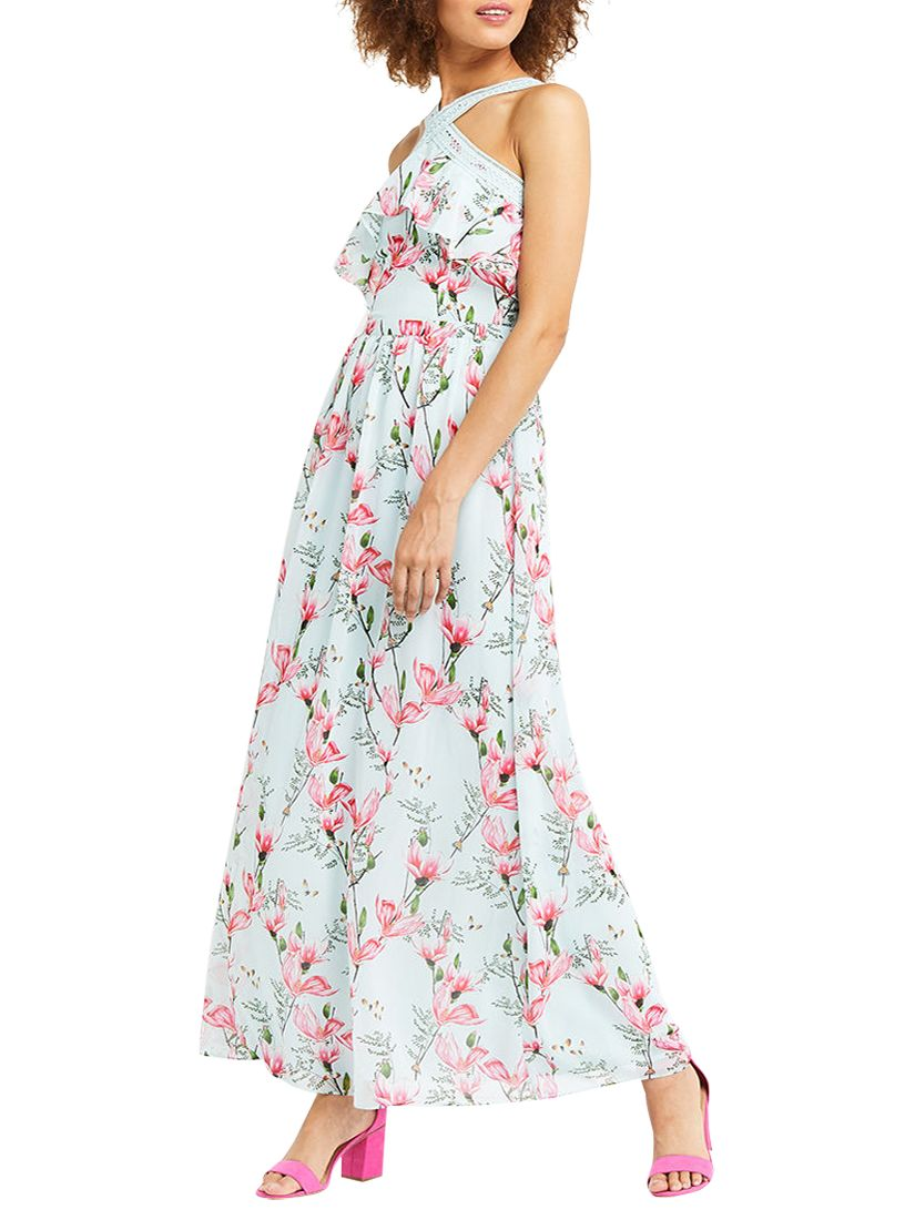 a7131152e34f Oasis Magnolia Chiffon Maxi Dress, Multi Blue at John Lewis & Partners
