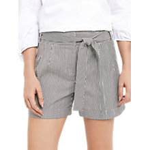 Buy Oasis Stripe Tie Side Shorts, White/Black Online at johnlewis.com