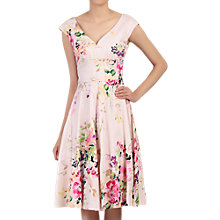Buy Jolie Moi Floral Sweetheart Neck Swing Dress, Pink Online at johnlewis.com