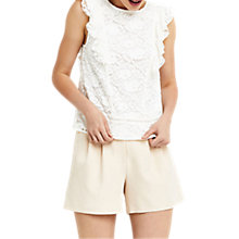 Buy Oasis Lace Frill Top, Off White Online at johnlewis.com