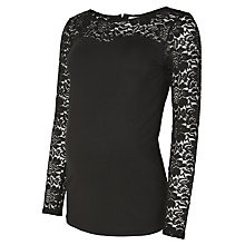 Buy Mamalicious Rosario Lace Jersey Top, Black Online at johnlewis.com