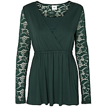Buy Mamalicious Didde Tess Lace Jersey Top, Green Online at johnlewis.com