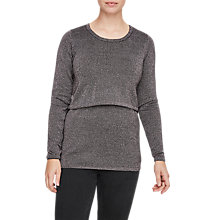 Buy Mamalicious Mllula June Long Sleeve Maternity Nursing Blouse, Grey Online at johnlewis.com