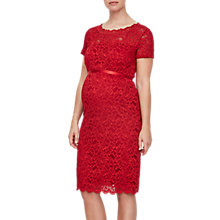 Buy Mamalicious Marylin Boatneck Lace Maternity Dress, Red Online at johnlewis.com