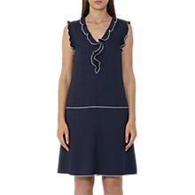Buy Reiss Vivienne Frill Detail Dress, Night Navy/Off White Online at johnlewis.com
