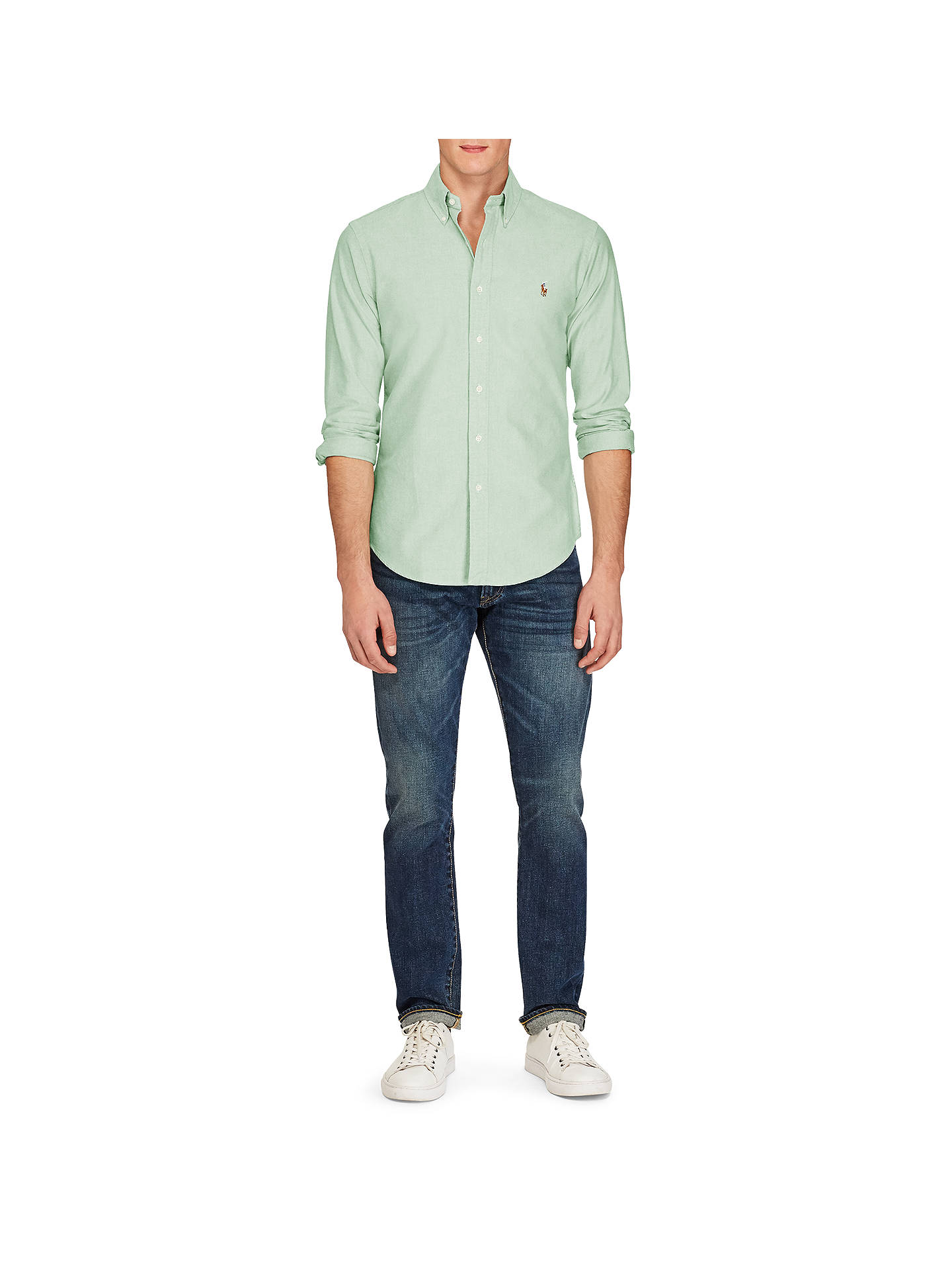 fa373e95 ... Buy Polo Ralph Lauren Cotton Oxford Slim Fit Shirt, Green/White, S  Online