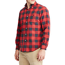 Buy Polo Ralph Lauren Long Sleeve Check Sports Shirt, Fire Red/Black Online at johnlewis.com