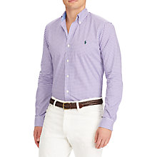 Buy Polo Ralph Lauren Long Sleeve Shirt, Lavender/White Online at johnlewis.com
