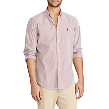 Buy Polo Ralph Lauren Button Down Pin Point Collar Striped Shirt, Burgundy/White Online at johnlewis.com