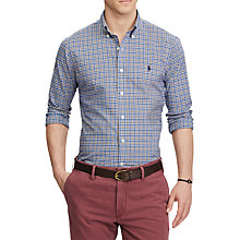 Buy Polo Ralph Lauren Long Sleeve Sports Shirt, Blue Multi/Brown Online at johnlewis.com