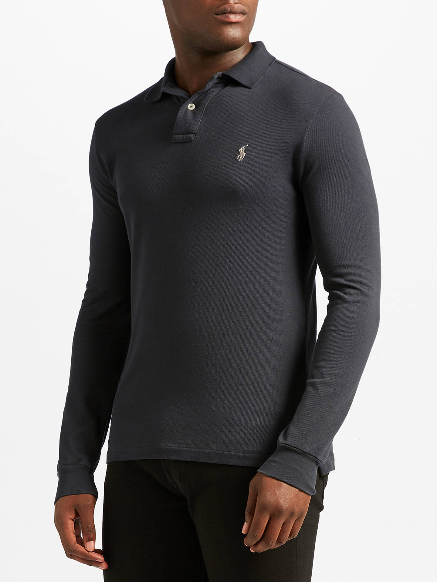 938521a9 Buy Polo Ralph Lauren Long Sleeve Polo Shirt, Grey, S Online at johnlewis.