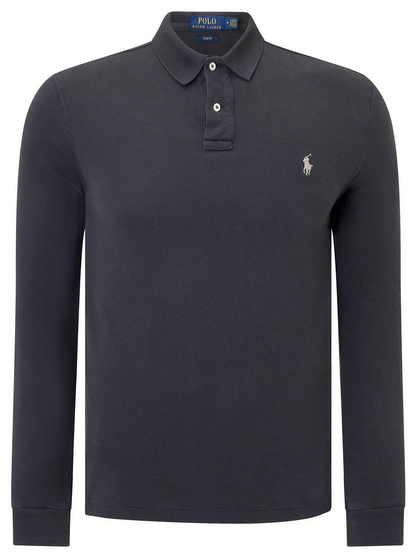 e26279f0 Polo Ralph Lauren Long Sleeve Polo Shirt, Dark Carbon Grey at John ...
