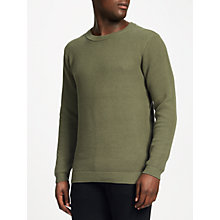 Buy Samsoe & Samsoe Burton O-Neck Chain Stitch Jumper, Dusty Olive Online at johnlewis.com