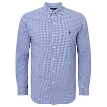 Buy Polo Ralph Lauren Button Down Pin Point Collar Long Sleeve Shirt, Blue/White Online at johnlewis.com