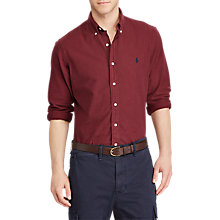 Buy Polo Ralph Lauren Slim Fit Button-Down Collar Shirt, Fall Burgundy Online at johnlewis.com