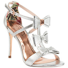 Buy Ted Baker Tie the Knot Appolini Bow Stiletto Sandals, Silver Online at johnlewis.com