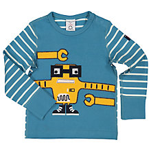 Buy Polarn O. Pyret Baby Robot Applique Top, Blue Online at johnlewis.com