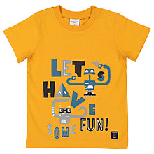 Buy Polarn O. Pyret Baby Graphic Slogan T-Shirt, Yellow Online at johnlewis.com