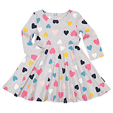 Buy Polarn O. Pyret Baby Heart Print Dress, Grey Online at johnlewis.com
