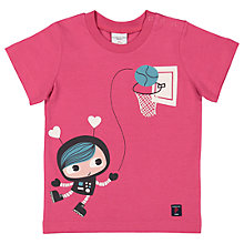 Buy Polarn O. Pyret Baby Graphic T-Shirt, Pink Online at johnlewis.com