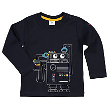Buy Polarn O. Pyret Baby Long Sleeve Robot T-Shirt, Navy Online at johnlewis.com