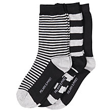 Buy Polarn O. Pyret Children's Stripe Socks, Pack of 3, Black Online at johnlewis.com