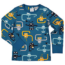 Buy Polarn O. Pyret Children's Long Sleeve Robot T-Shirt, Blue Online at johnlewis.com