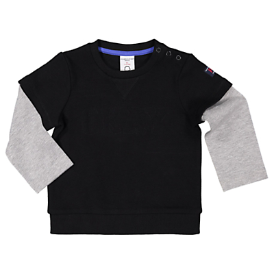 Polarn O. Pyret Baby Long Sleeve Slogan T-Shirt, Navy