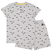 Buy Polarn O. Pyret Children's Rocket Ship Print Pyjamas, Grey Online at johnlewis.com