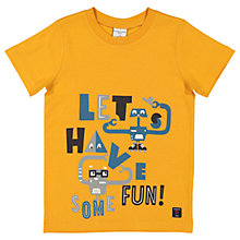 Buy Polarn O. Pyret Children's Let's Have Some Fun T-Shirt, Yellow Online at johnlewis.com