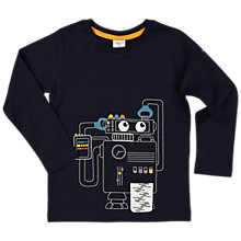 Buy Polarn O. Pyret Children's Long Sleeve Robot T-Shirt, Navy Online at johnlewis.com