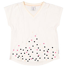 Buy Polarn O. Pyret Girls' Dot V-Neckline Top, Cream Online at johnlewis.com