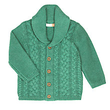 Buy John Lewis Baby Cable Knit Cardigan, Green Online at johnlewis.com