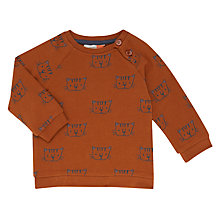 Buy John Lewis Baby All Over Cat Print Sweatshirt, Brown Online at johnlewis.com