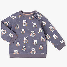 Buy John Lewis Baby Owl Print Sweatshirt, Grey Online at johnlewis.com