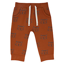 Buy John Lewis Baby All Over Cat Print Joggers, Brown Online at johnlewis.com