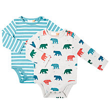 Buy John Lewis Baby Long Sleeve Bear Stripe Bodysuit, Multi Online at johnlewis.com