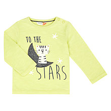 Buy John Lewis Baby Moon & Cat Top, Lime Online at johnlewis.com