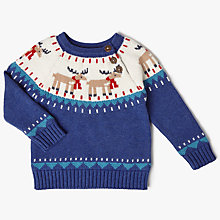 Buy John Lewis Baby Reindeer Jumper, Blue Online at johnlewis.com