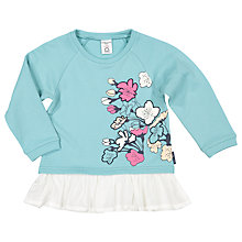 Buy Polarn O. Pyret Girls' Flower Frilled Jumper, Blue Online at johnlewis.com
