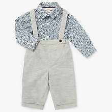 Buy John Lewis Heirloom Collection Baby Shirt & Dungaree Set, Grey Online at johnlewis.com
