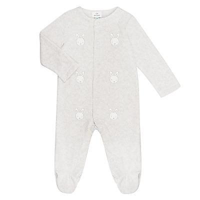 John Lewis & Partners Baby Rabbit Velour Sleepsuit, Grey