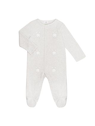 John Lewis & Partners Baby GOTS Organic Cotton Rabbit Velour Sleepsuit, Grey