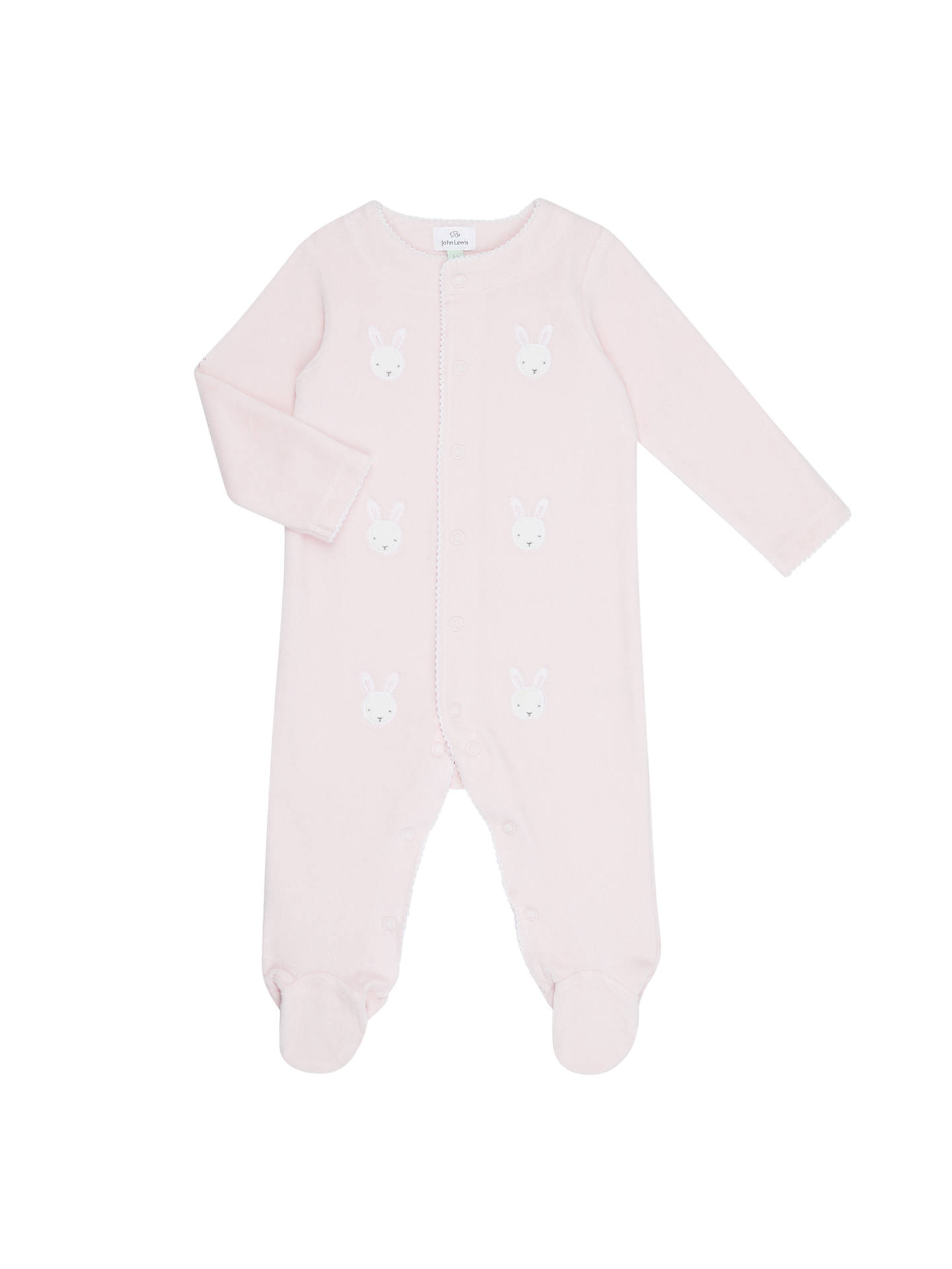 fee37c992 John Lewis   Partners Baby Rabbit Velour Sleepsuit