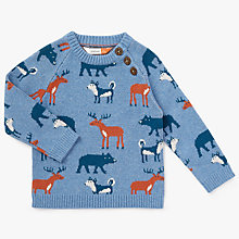 Buy John Lewis Baby Woodland Intarsia Jumper, Blue Online at johnlewis.com